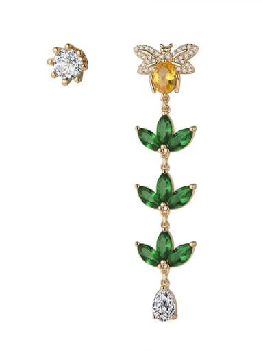 New long zircon tassel asymmetric bee flower earrings