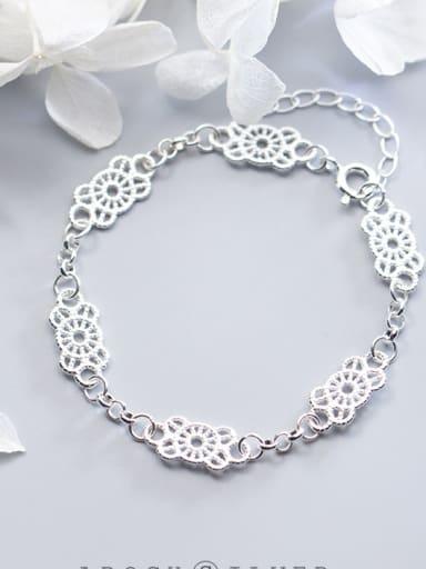 S925 silver Openwork flowers   Lace bracelet