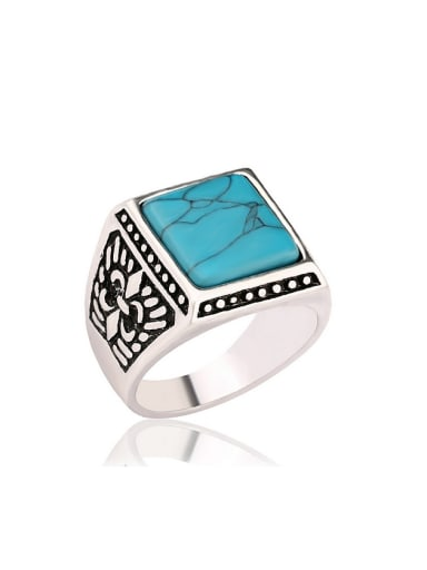 Retro style Square Resin Sliver Plated Ring