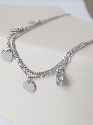 925 Sterling Silver With Platinum Plated Personality Round Tassel chain Anklets