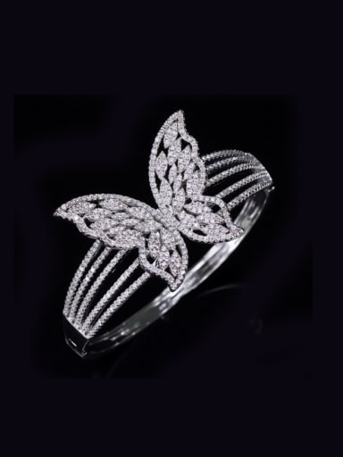 Micro Pave Zircons Whit Gold Plated Bangle with Butterfly Pattern