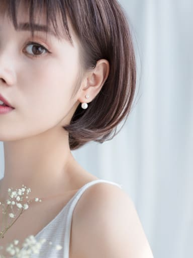 S925 Tremella nail fashion female rear hanging pearl beads synthetic Pearl Earrings short Earrings E0262-1