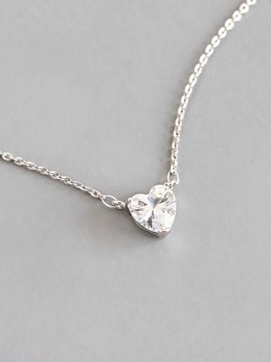 Sterling silver simple love zircon necklace