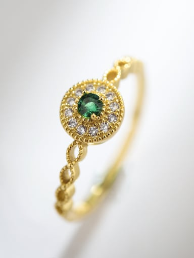 Exquisite and simple round zircon free size ring