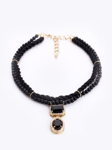 Alloy Woven Rope Artificial Pearls Sweater Necklace