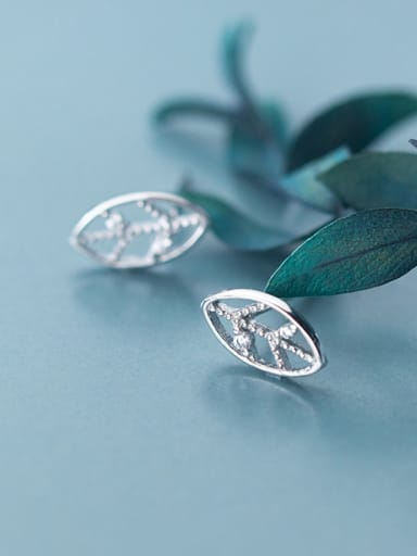 925 Sterling Silver With Silver Plated Simplistic Leaf Stud Earrings