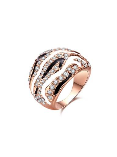 Unisex Rose Gold Plated Rhinestones Enamel Ring