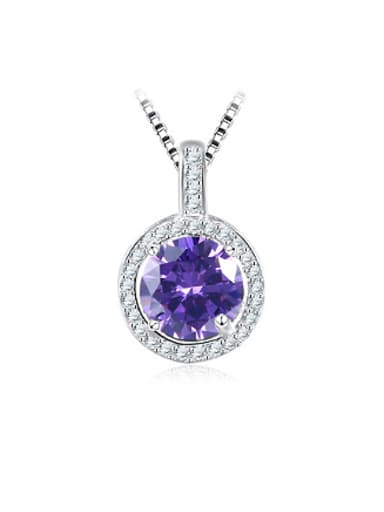 Purple Stone 925 Silver Round Shaped Necklace
