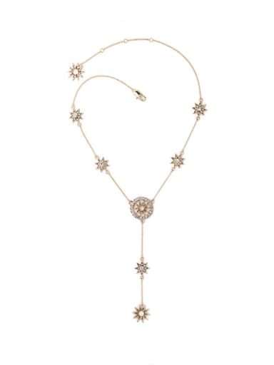 Ancient Hollowed Out Star Long Pendant Western Style Necklace