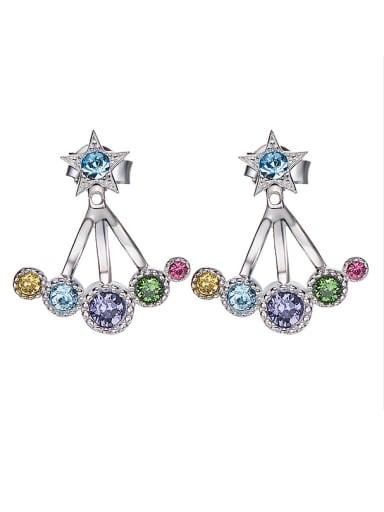 S925 Silver Multi-color Chandelier earring