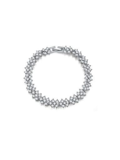 Delicate Platinum Plated Geometric Shaped Alloy Bracelet