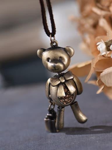 Women Cute Bear Shaped Sweater Necklace
