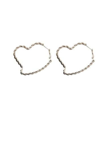 Alloy With Gold Plated Simplistic  Hollow Heart Hoop Earrings