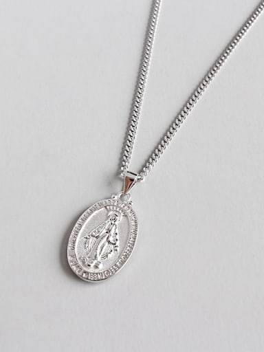 925 Sterling Silver With Silver Plated Personality Virgin Mary Necklaces