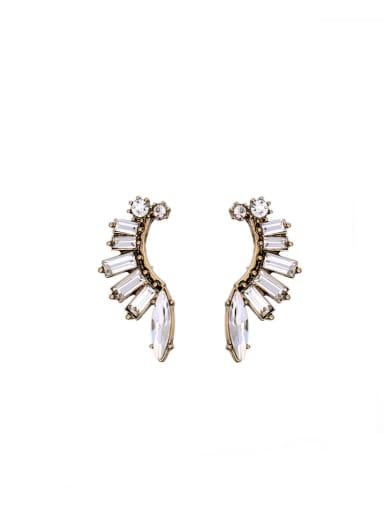 Shining Rhinestones Leaves Shaped Stud Cluster earring