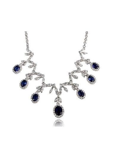 Shimmering Blue Geometric Shaped Zircon Necklace