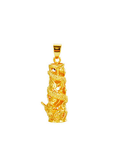 Copper Alloy 24K Gold Plated Classical Dragon Pillar Pendant