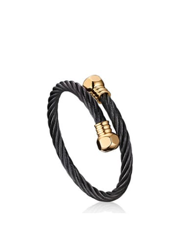 Exquisite Gold Plated Open Design Geometric Titanium Bangle