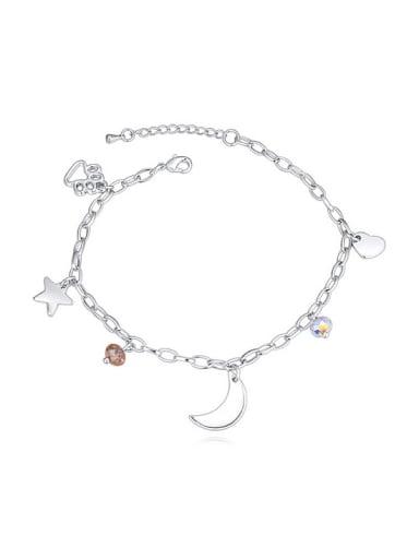 Simple Moon Star Heart Footprint Little Swarovski Crystals Bracelet
