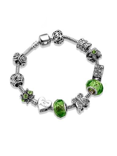 Exquisite Green Glass Stone Flower Bracelet