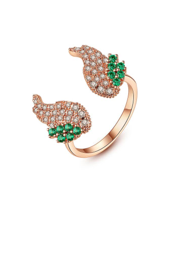Copper With Rose Gold Plated Personality Wing  Free Size  Rings