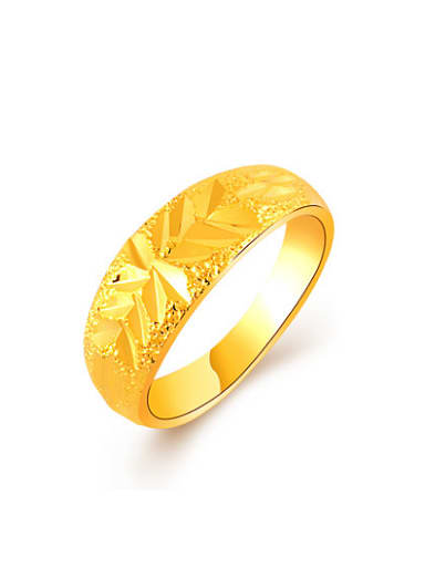 Fashionable 24K Gold Plated Flower Pattern Copper Ring