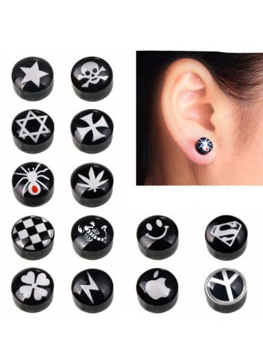 Stainless Steel With Black Gun Plated Personality Round Stud Earrings