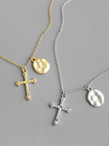 925 Sterling Silver With Cross Geometry Long Sweater Chain