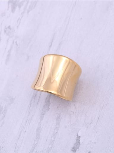 Titanium With Gold Plated Simplistic Irregular Band Rings