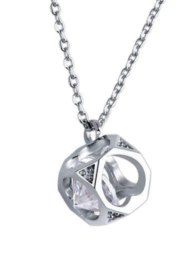 925 Sterling Silver With Cubic Zirconia Simplistic Hollow heart necklace
