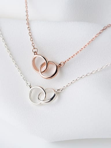 925 Sterling Silver With Rose Gold Plated Simplistic Round Necklaces