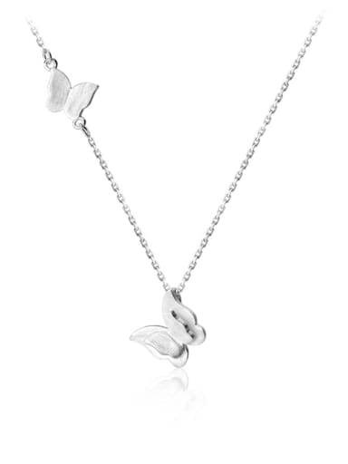925 Sterling Silver With Platinum Plated Personality Butterfly Necklaces