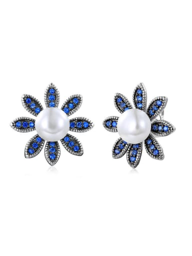 Exquisite Flower Shaped Artificial Pearl Stud Earrings