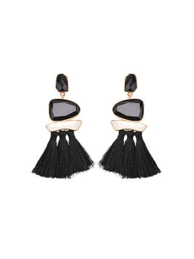 Elegant Geometric Glass Stone Tassel Drop Earrings