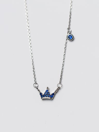 Elegant Crown Shaped S925 Silver Zircon Necklace