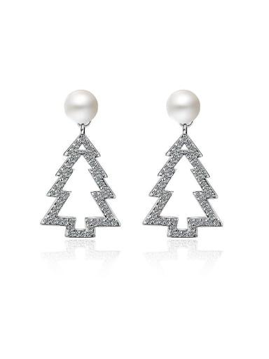 Personalized Christmas Tree Imitation Pearl Stud Earrings