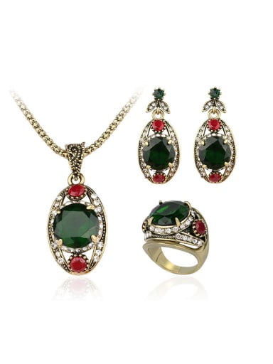 Retro style Green Glass stones White Crystals Three Pieces Jewelry Set