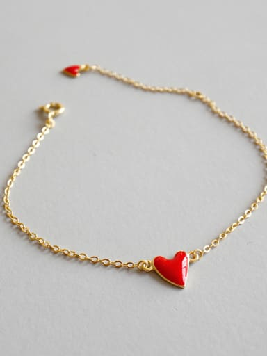 925 Sterling Silver With 18k Gold Plated Cute Heart Bracelets