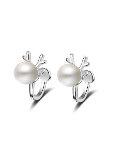 Fashion Imitation Pearl Little Deer Antlers Stud Earrings