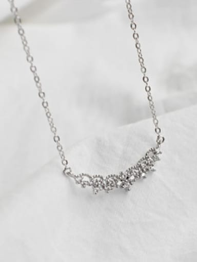 Fashion Little Four-leaf Clovers Cubic Zirconias Silver Necklace