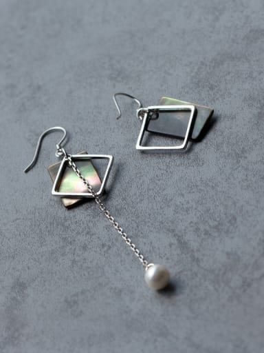 Exquisite Colorful Square Shaped Asymmetric Shell Drop Earrings