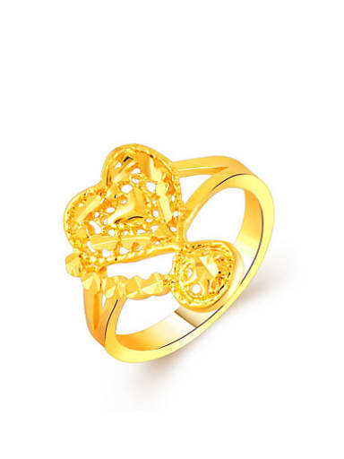 Fashionable 24K Gold Plated Heart Shaped Copper Ring