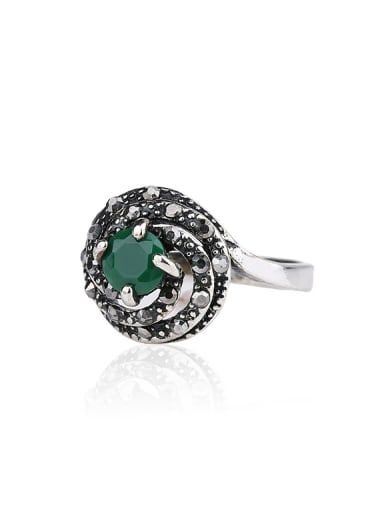 Retro style Round Resin stone Grey Crystals Alloy Ring