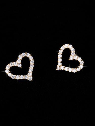 Copper With Cubic Zirconia Simplistic Heart Stud Earrings