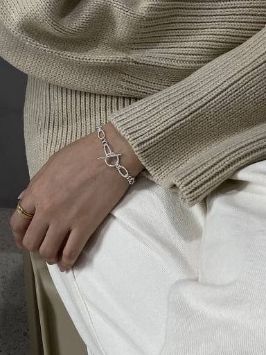 925 Sterling Silver With Platinum Plated Simplistic  Hollow Chain Bracelets