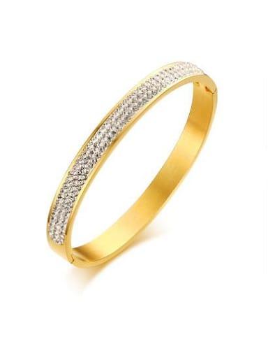 Fashionable Gold Plated Geometric Rhinestone Bangle