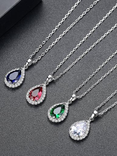 Copper inlay AAA zircon semi-precious stone pendant necklace