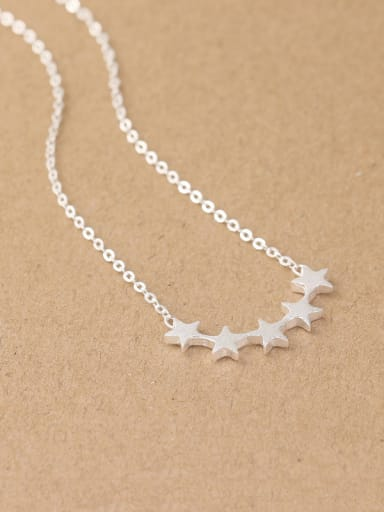 Simple Five-pointed Stars Silver Necklace