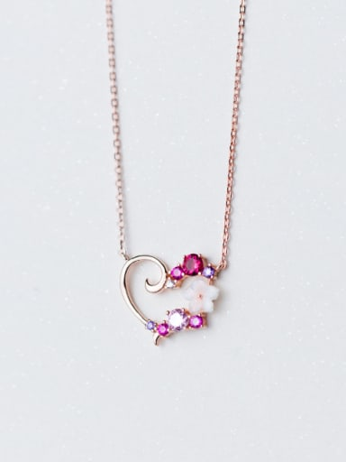 Elegant Rose Gold Plated Flower Shaped Zircon S925 Silver Necklace