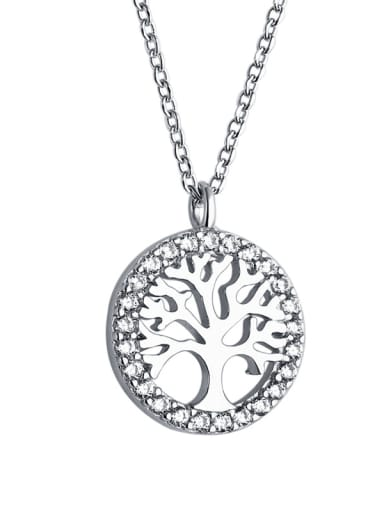 925 Sterling Silver With Cubic Zirconia Simplistic Wishing tree round card Necklaces